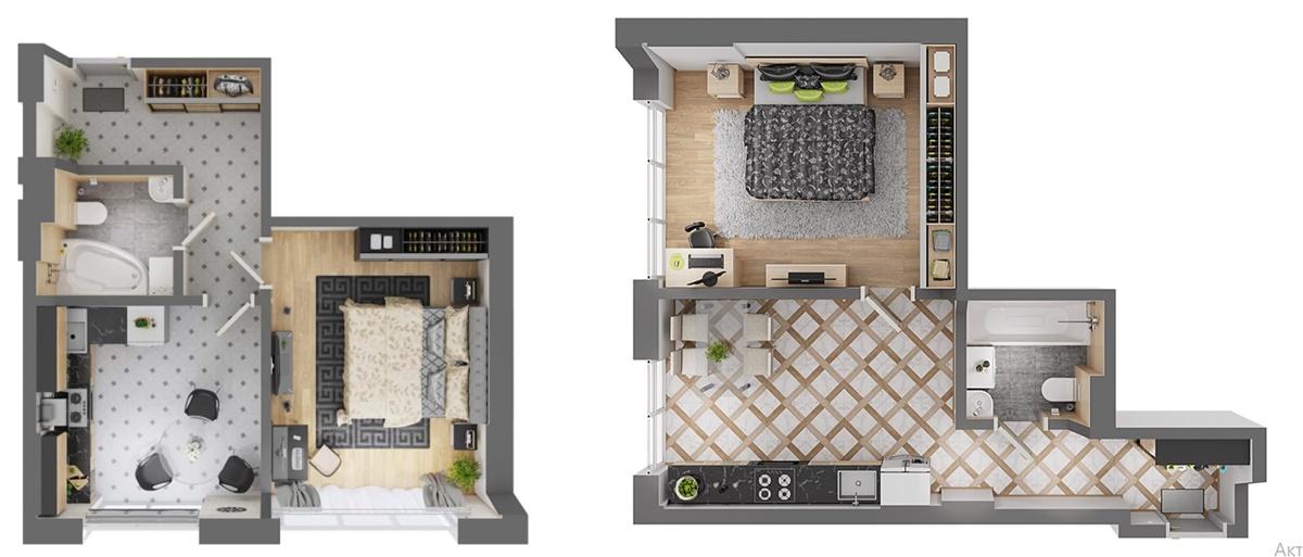 ЖК Petrivsky Residence планировки однокомнатных квартир