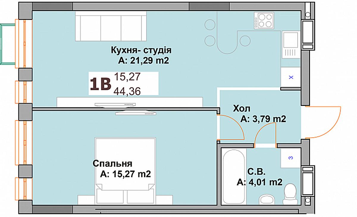 ЖК Вышгород Скай планировка однокомнатной квартиры