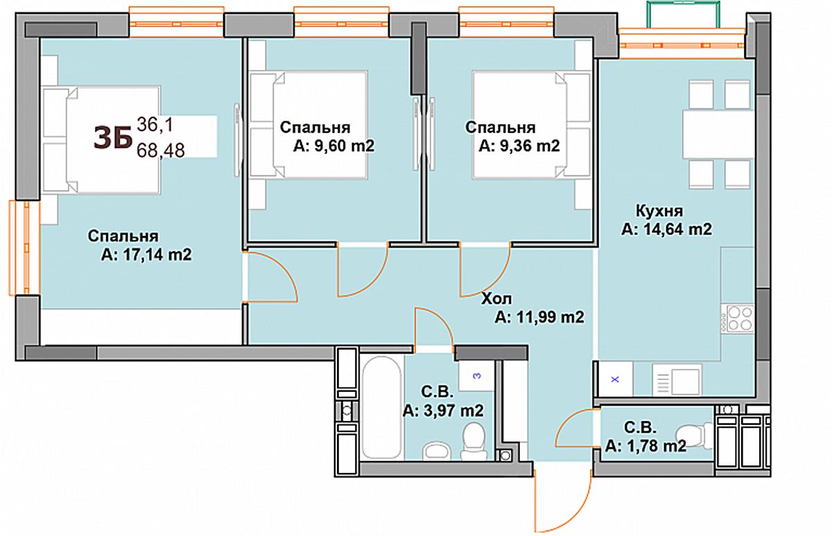 ЖК Vyshgorod Sky планировка трехкомнатной квартиры