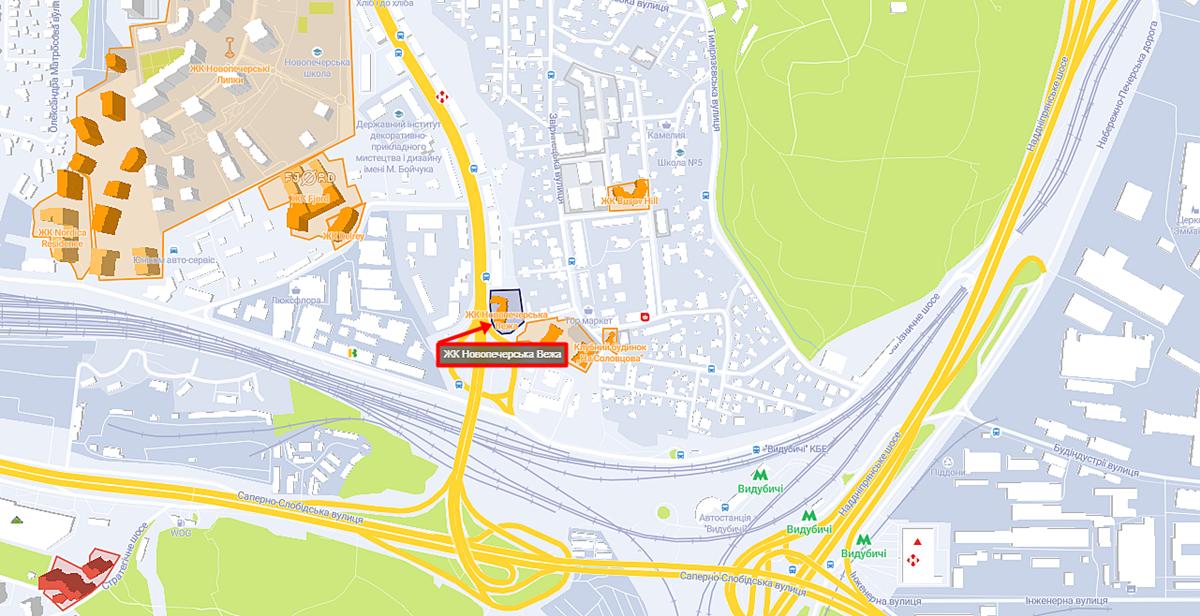 ЖК Новопечерська Вежа на карте