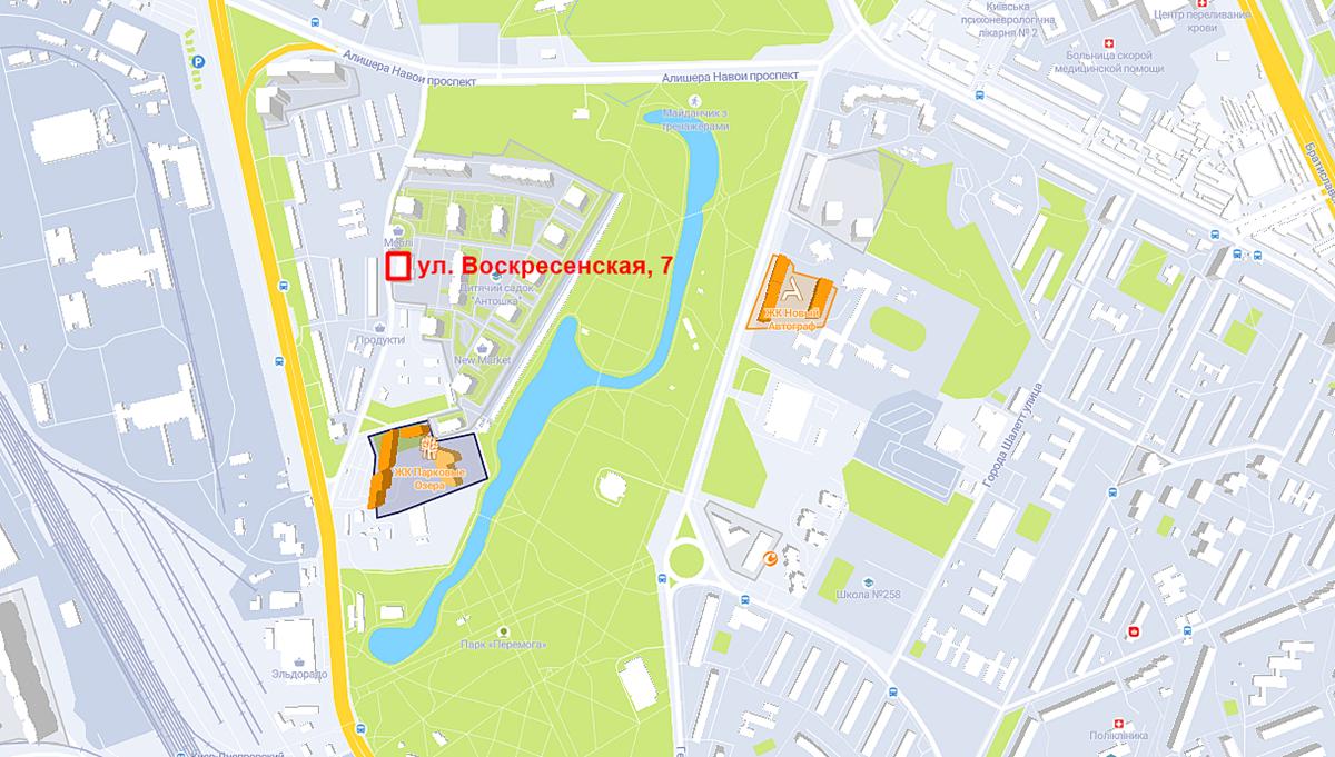 Проект ЖК по ул. Воскресенская, 7 на карте