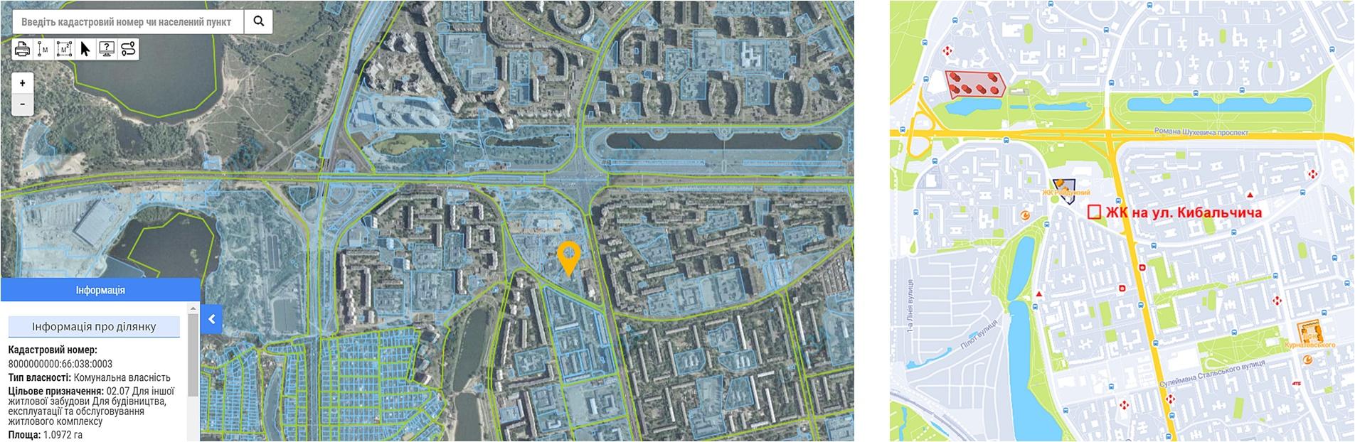 Проект по ул. Кибальчича данные кадастра и на карте