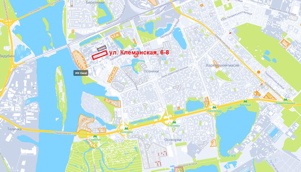 Проект ЖК по ул. Клеманская, 6-8 на карте