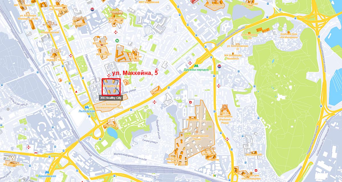 Новый ЖК по ул. Маккейна, 5 на карте