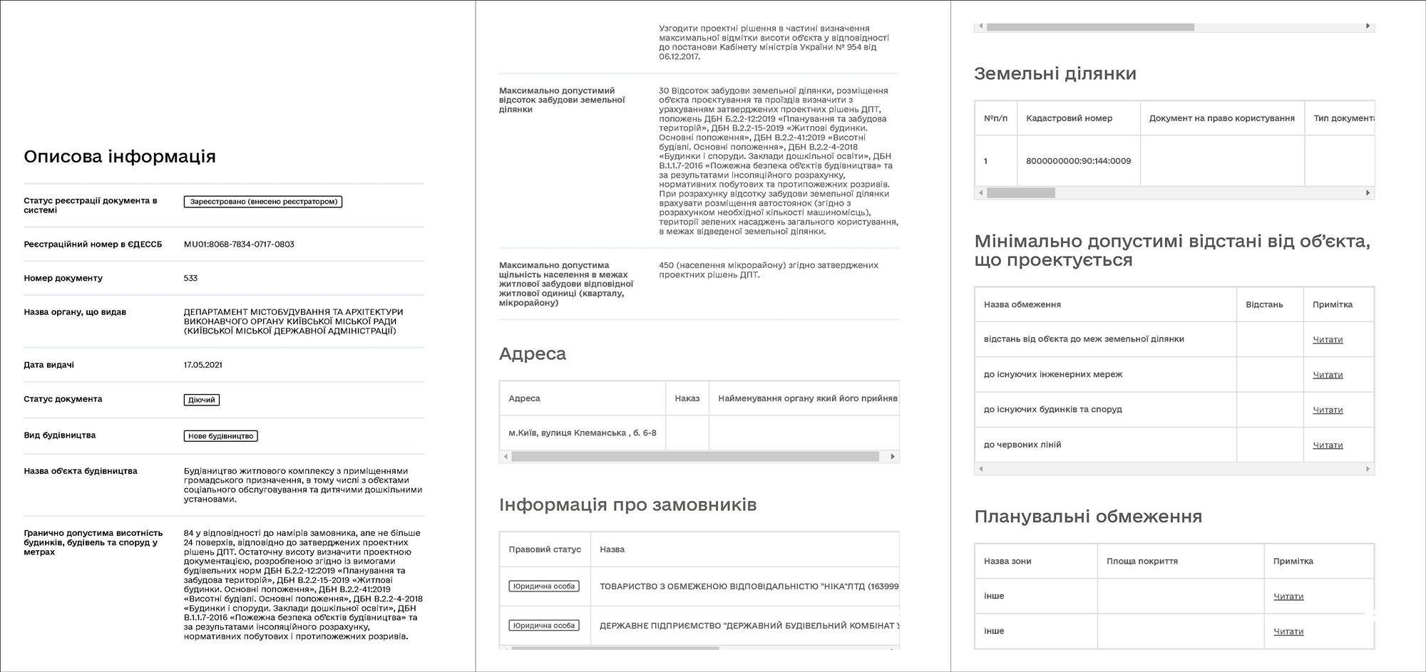 Проект ЖК по ул. Клеманская, 6-8 ГУО на застройку участка