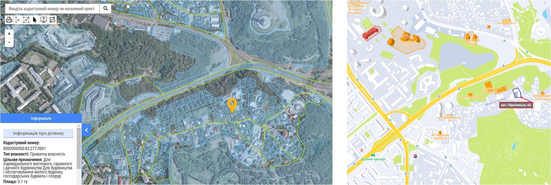 Проект по ул. Пирятинская, 6-Б данные кадастра и на карте