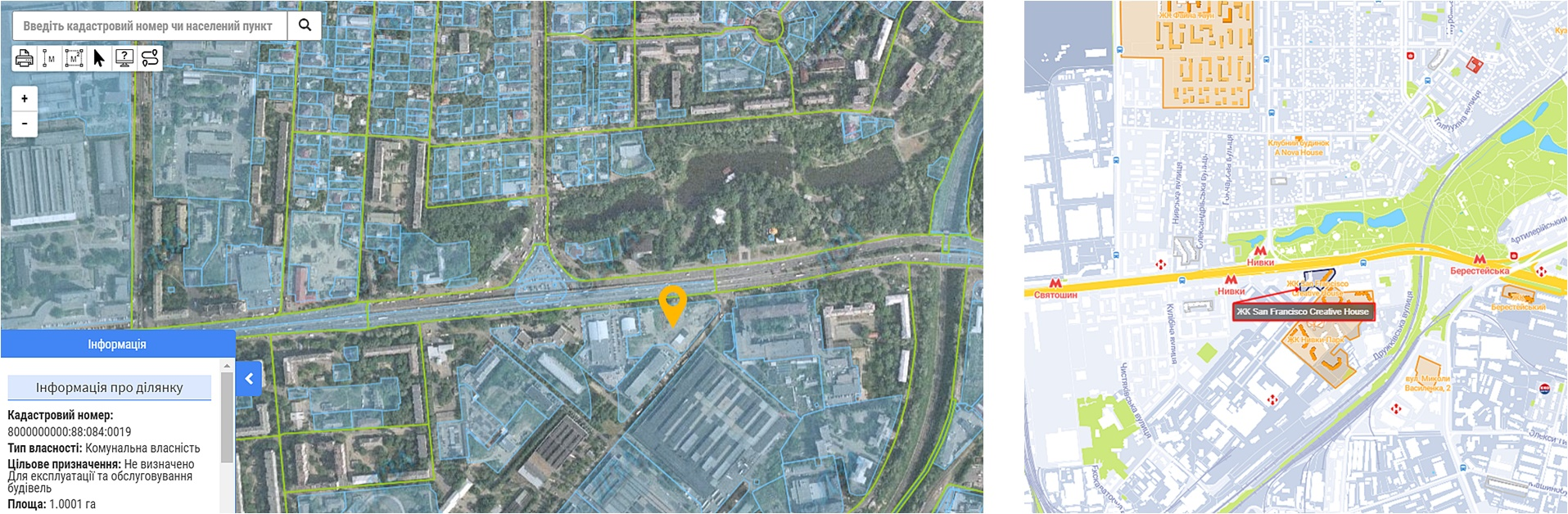 ЖК San Francisco Creative House данные кадастра и на карте
