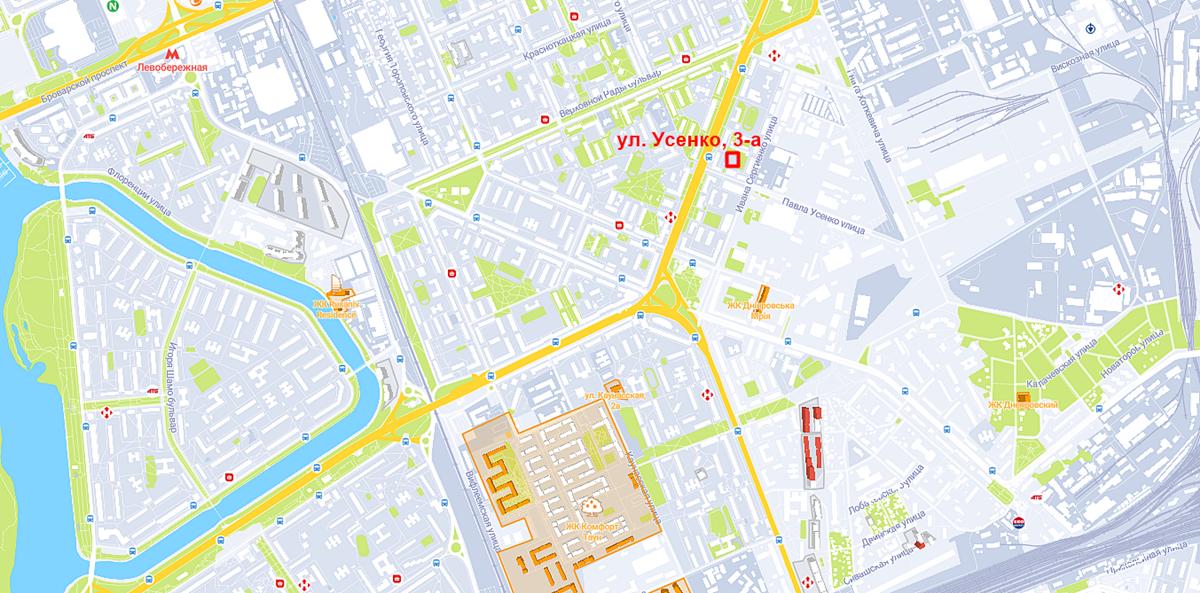 Проект по ул. Усенко, 3-а на карте