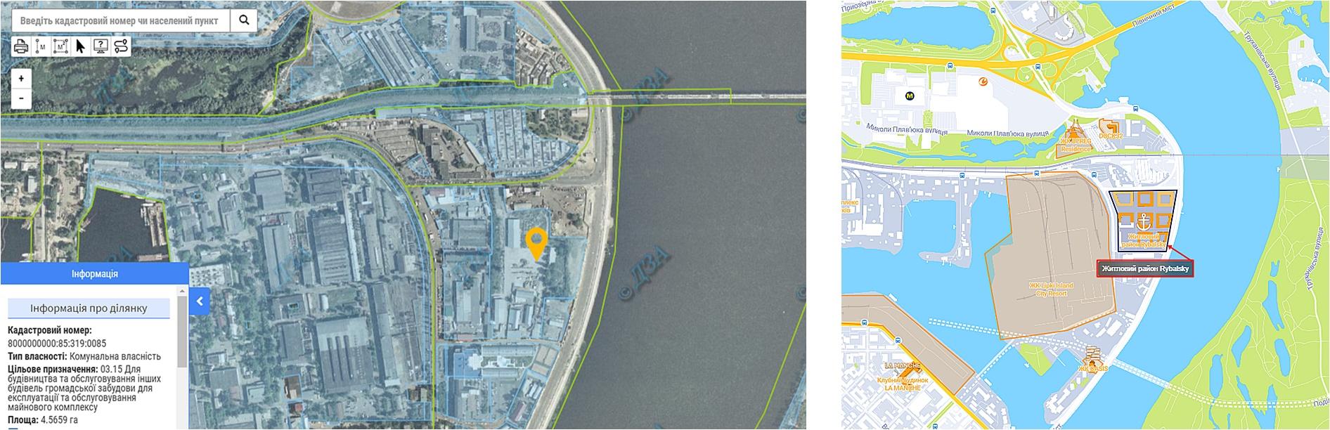ЖК Рыбальский данные кадастра и на карте
