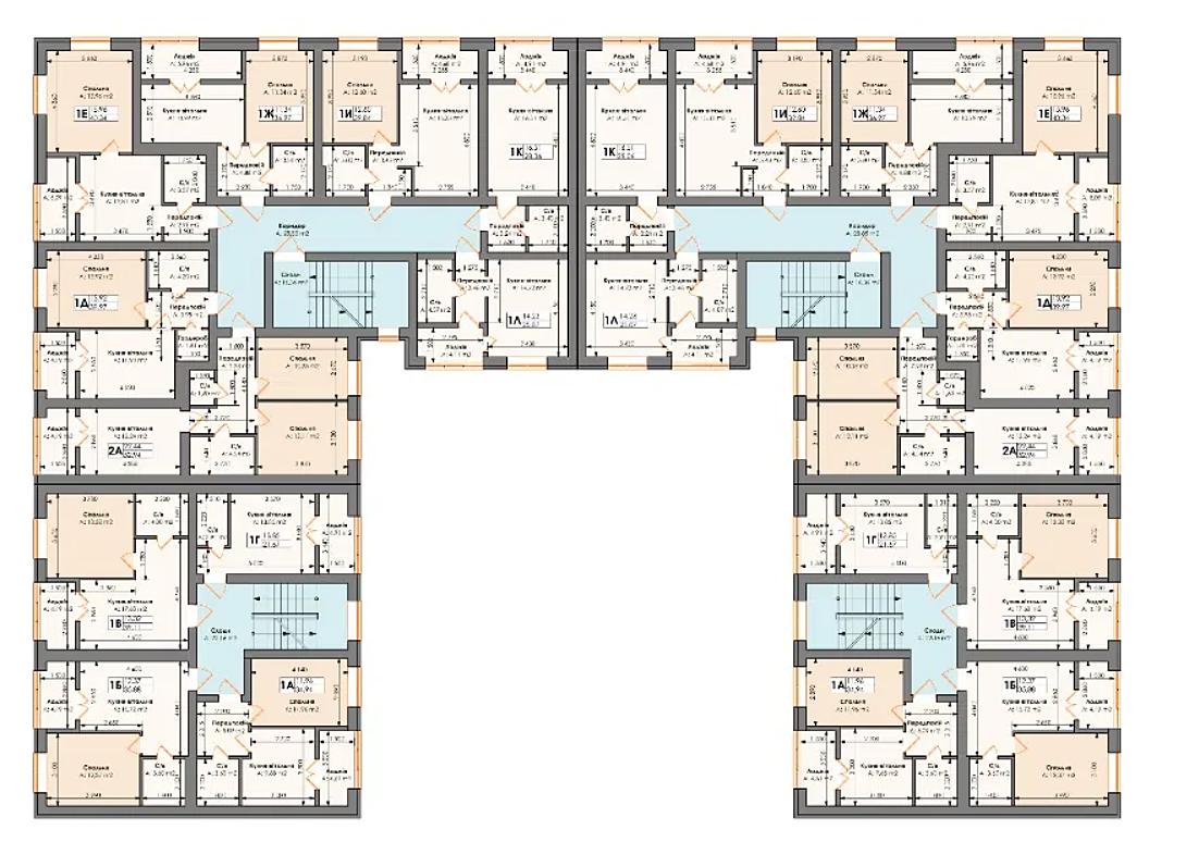 ЖК Бургундия поэтажный план 4-секционных домов