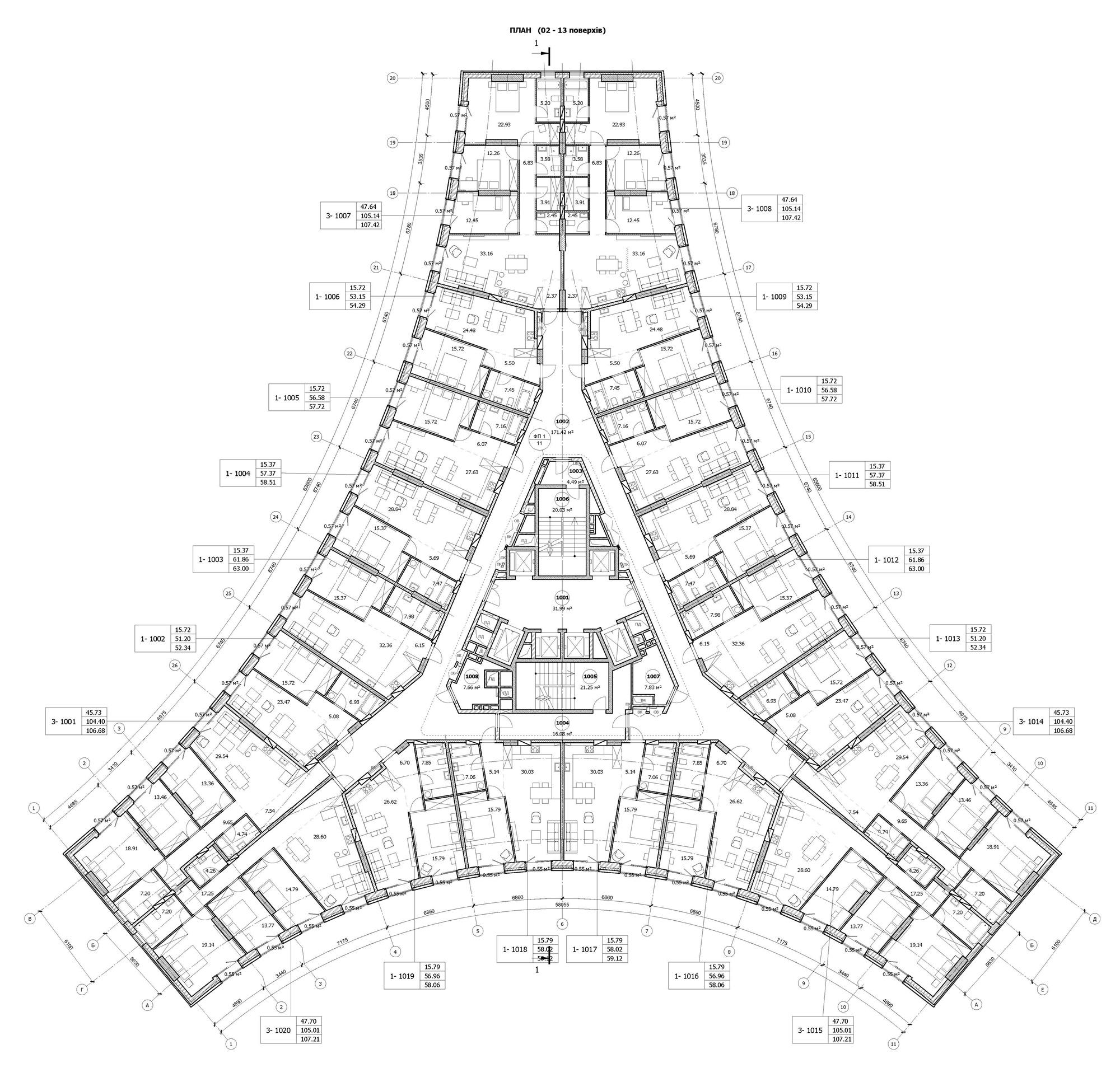 ЖК Bereg Residence поэтажный план