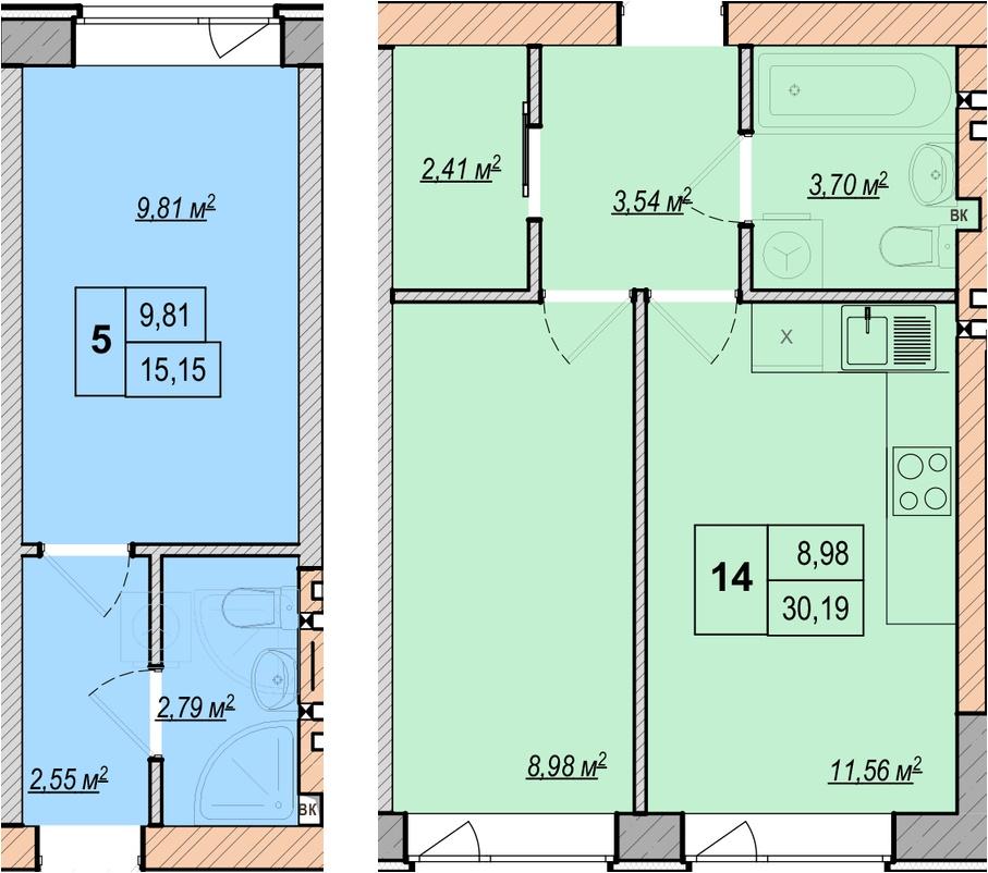 ЖК Либерти Парк вариант планировки студио и однокомнатной квартиры