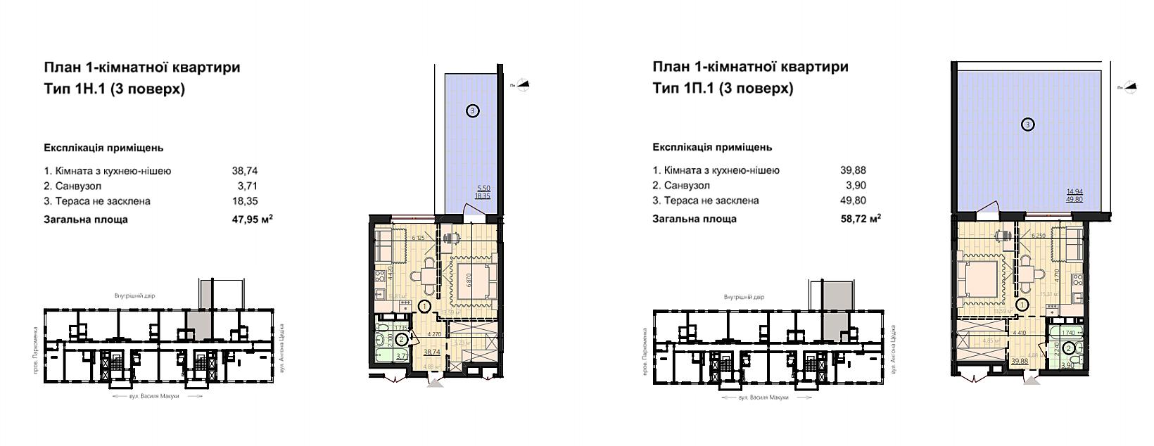 ЖК Урбанист планировки квартир с террасами