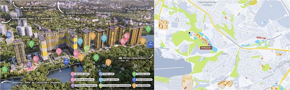 ЖК Медовый-1 и ЖК Медовый-2 визуализация и на карте