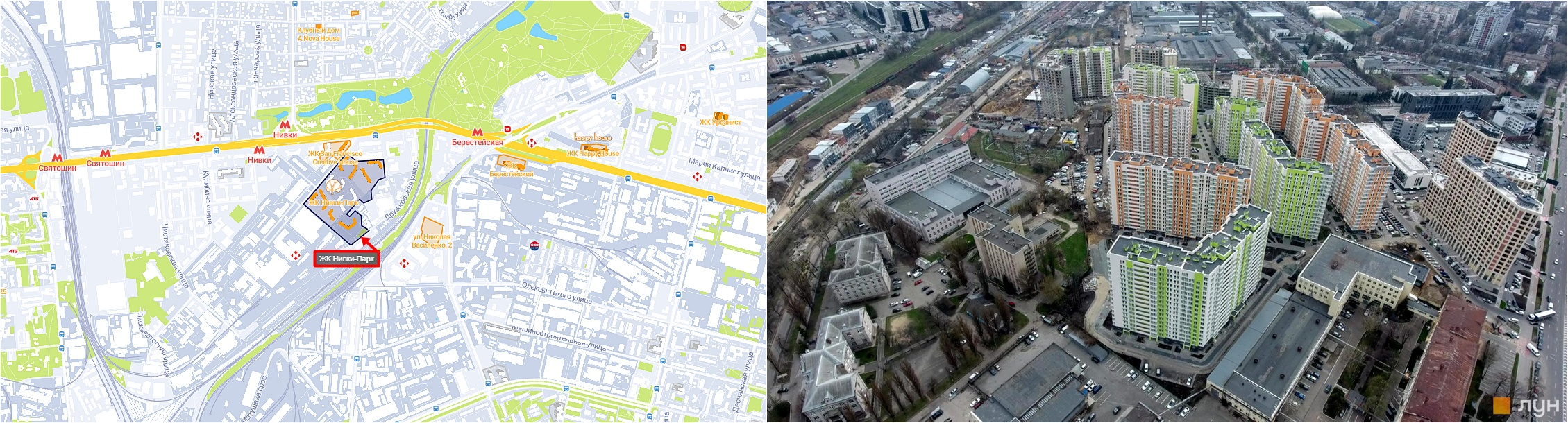 ЖК Нивки-Парк на карте и вид на стройплощадку