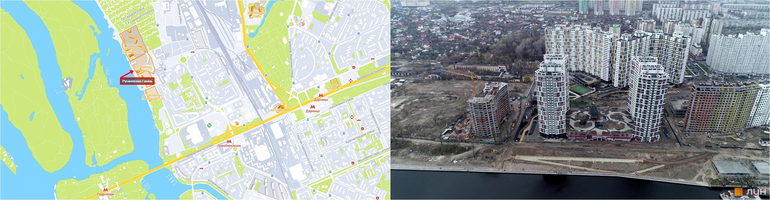 ЖК Русановская Гавань на карте и ход строительства