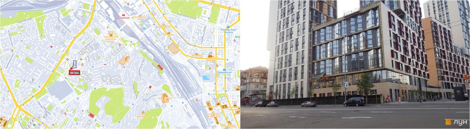 ЖК Тайм на карте и вид на стройплощадку