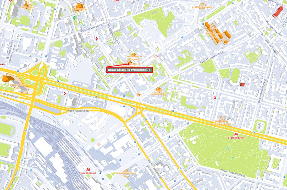 Апартаменты на Тургеневской, 17 на карте