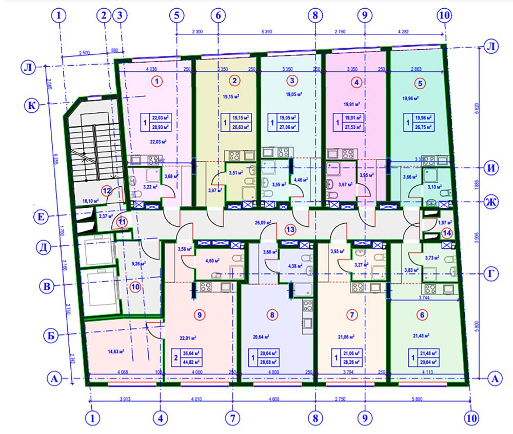 Апартаменты на Тургеневской, 17 поэтажный план