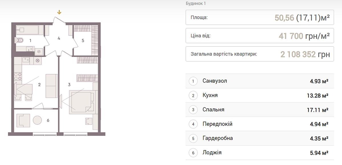 ЖК Senat вариант планировки однокомнатной квартиры