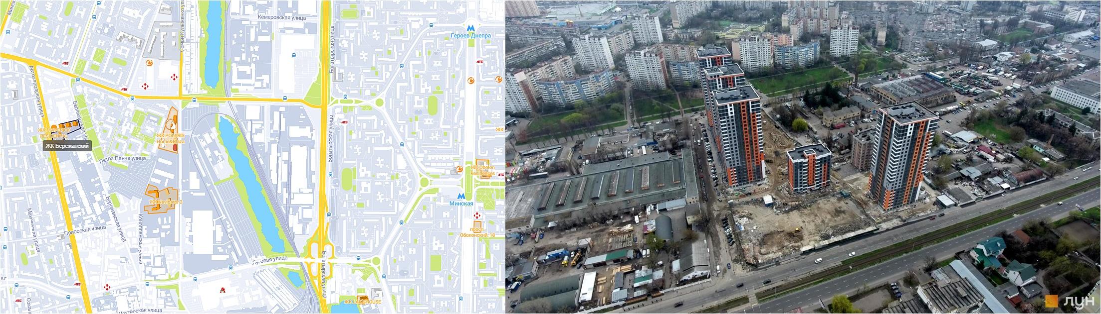 ЖК Бережанский на карте и аэрооблет