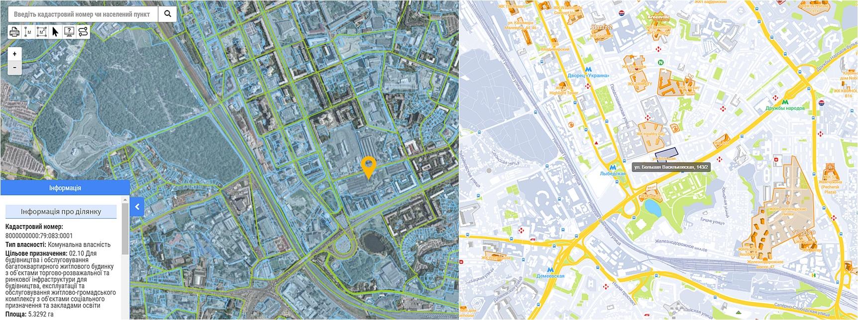 Проект ЖК по ул. Большая Васильковская, 143/2 данные кадастра и на карте