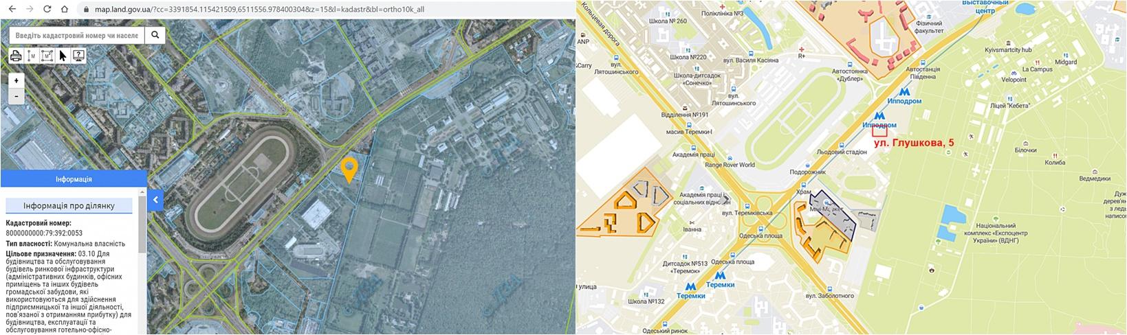 Проект МФК по улице Академика Глушкова, 5 данные кадастра и на карте