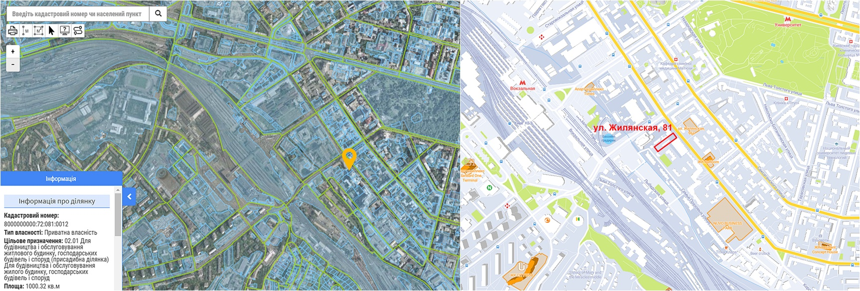 Проект многофункционального ЖК по ул. Жилянская, 81 данные кадастра и на карте