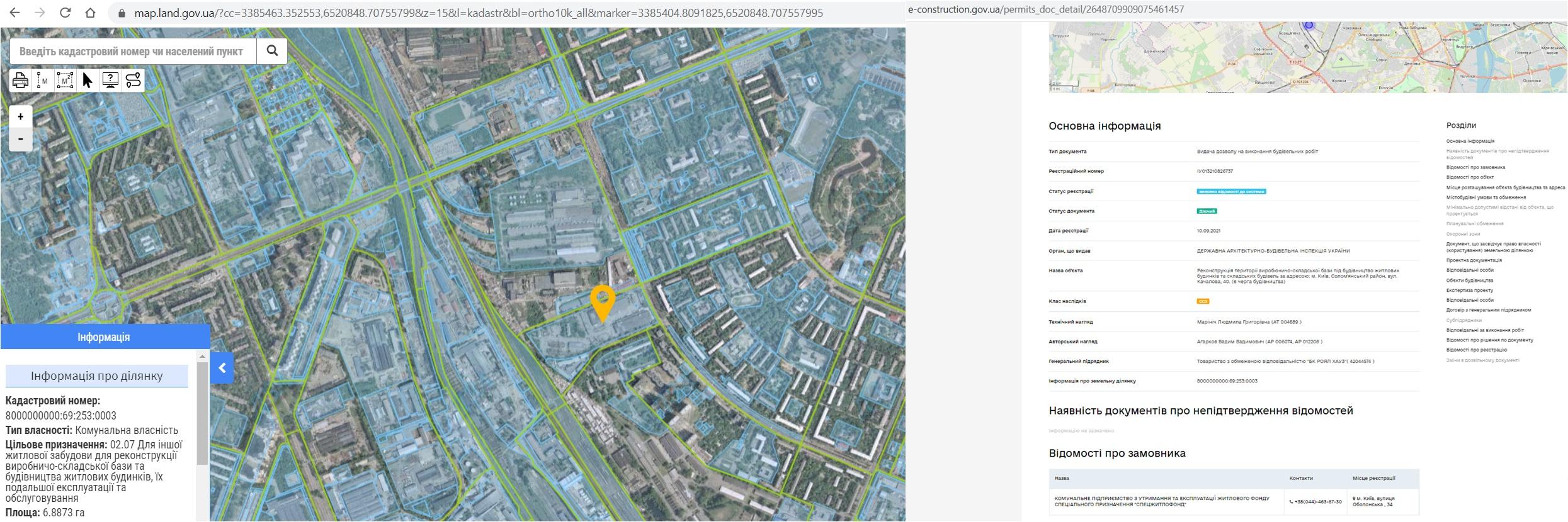 Новая очередь ЖК Ридне Мисто данные кадастра и Разрешение в реестре