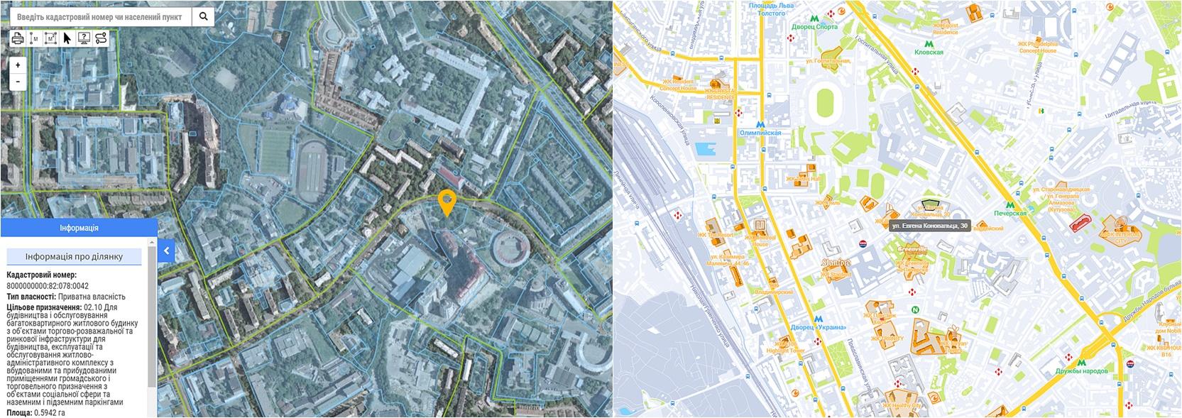Проект ЖК по ул. Коновальца, 30 данные кадастра и на карте