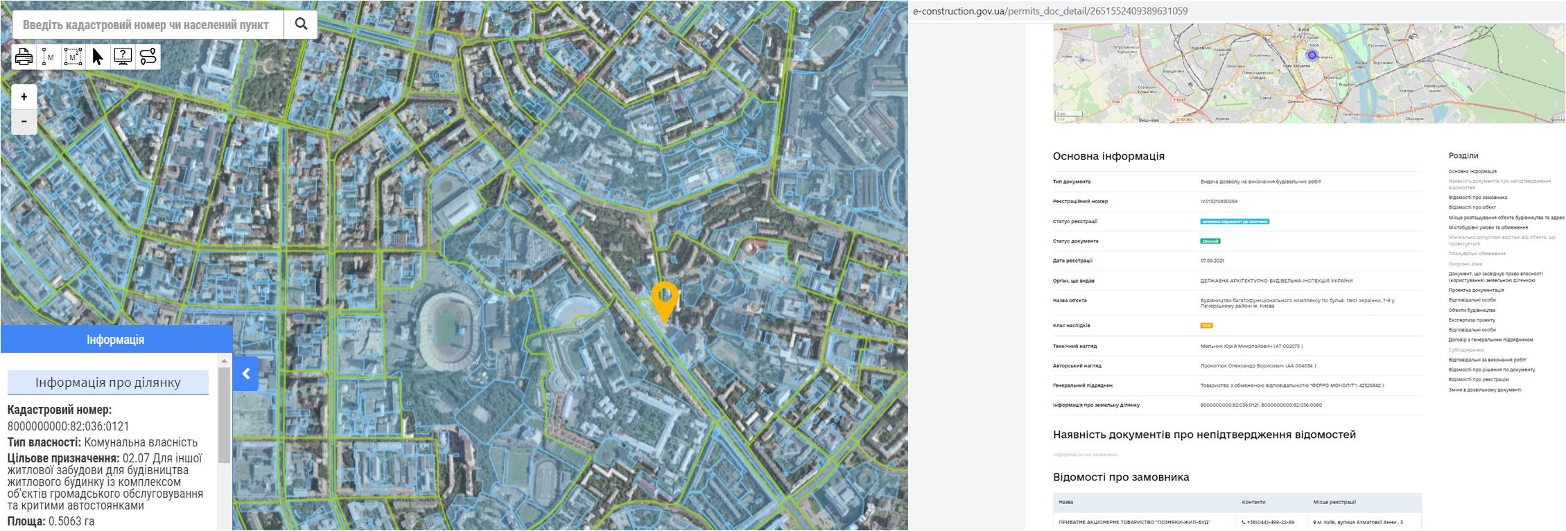 Проект многофункционального ЖК на бульваре Леси Украинки, 7-9 данные кадастра и Разрешение в реестре