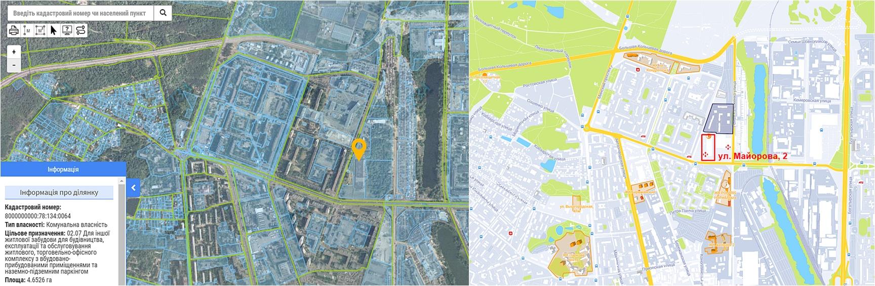 Новый ЖК по ул. Калнышевского, 2 данные кадастра и на карте