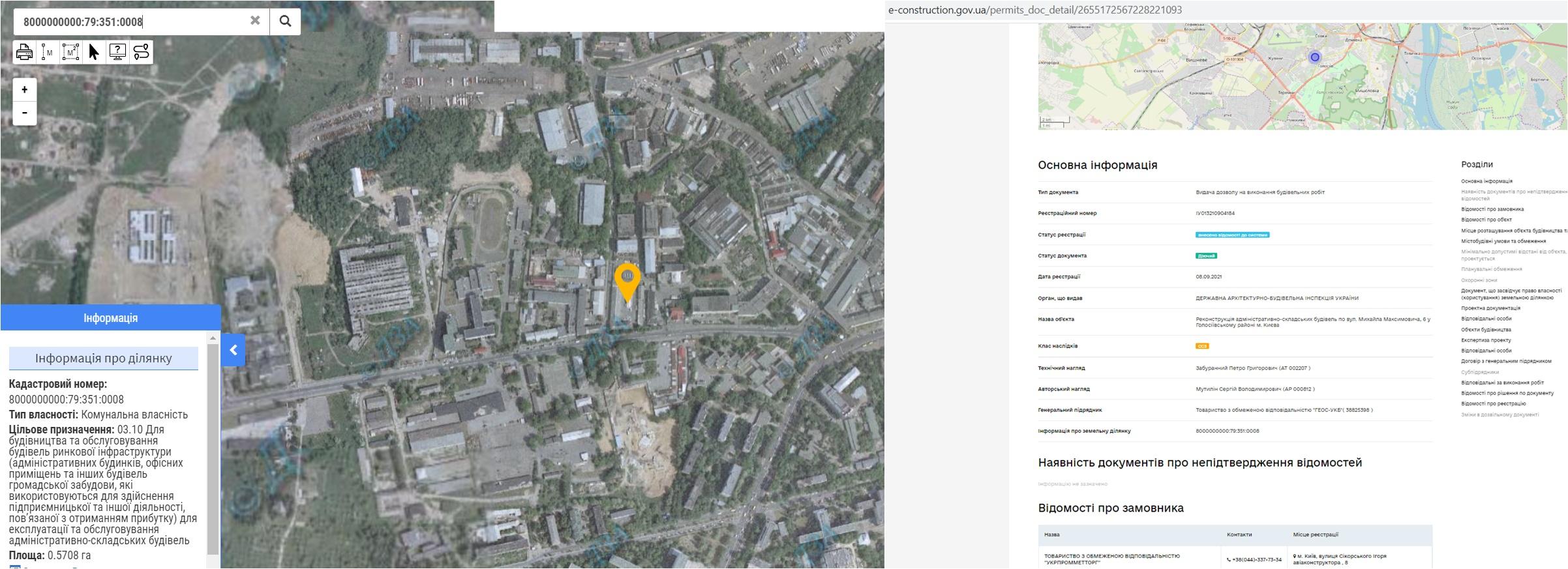 Проект реконструкции по ул. Максимовича, 6 данные кадастра и Разрешение в реестре
