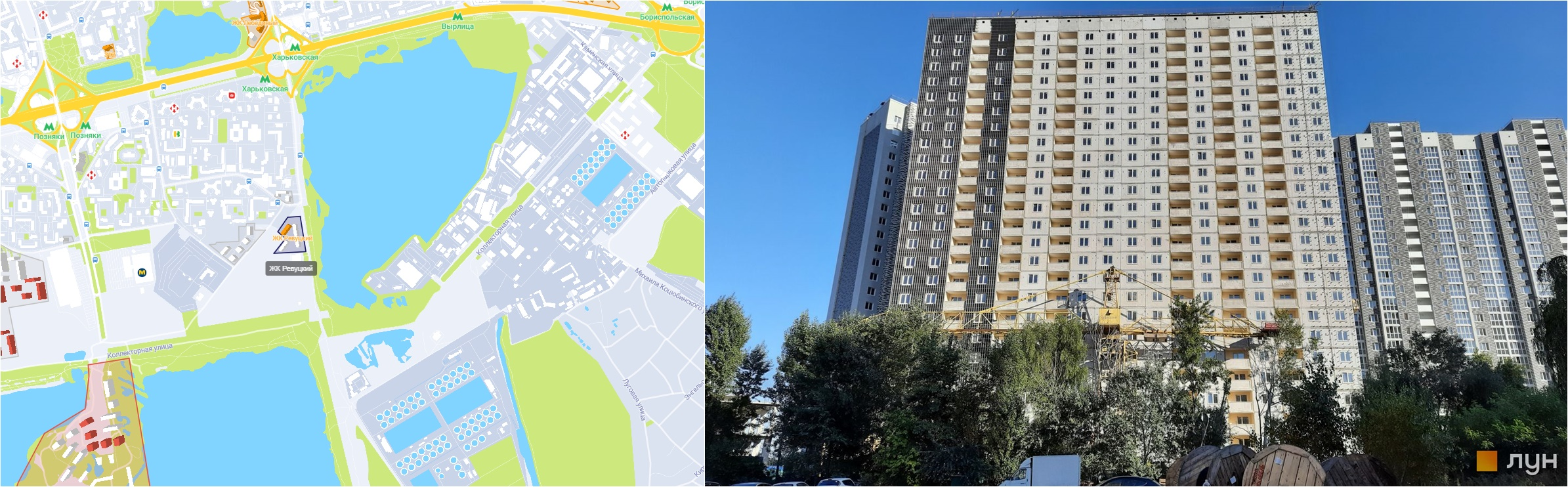 ЖК Ревуцкий на карте и внешний вид построенных домов