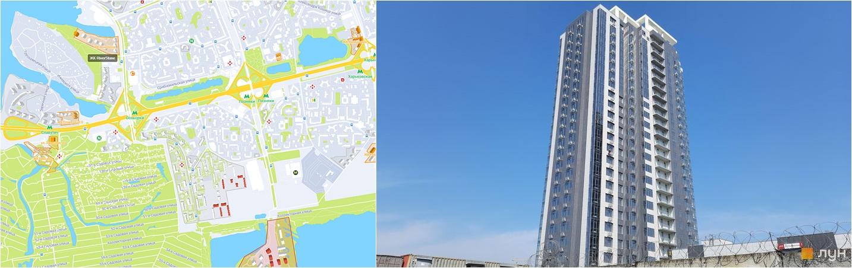 ЖК Ривер Стоун на карте и внешний вид построенных домов