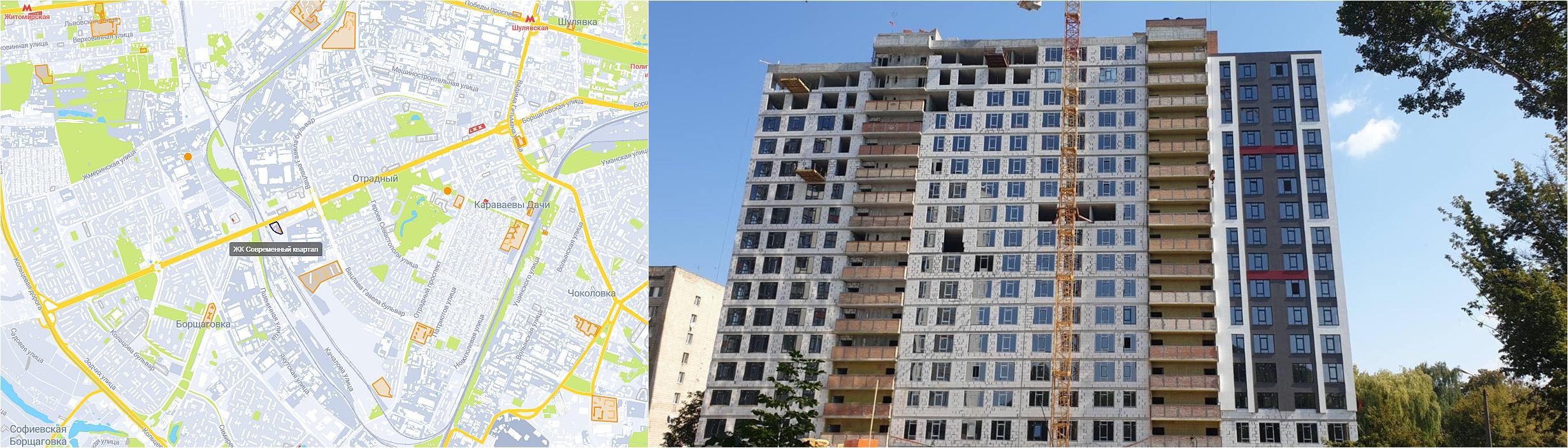 ЖК Современный квартал на карте и ход строительства