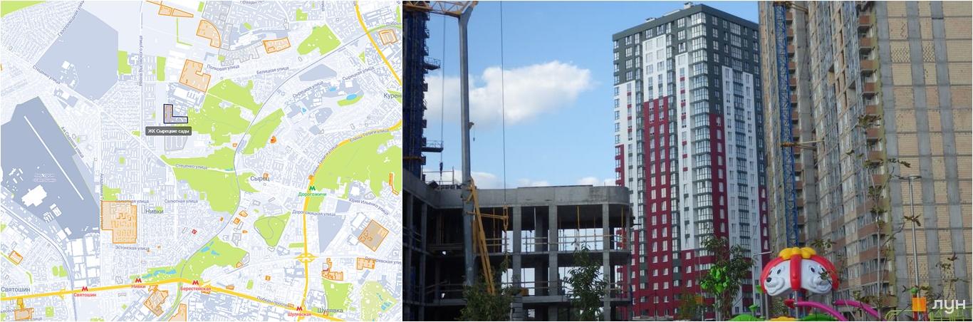 ЖК Сырецкие Сады на карте и внешний вид построенных домов