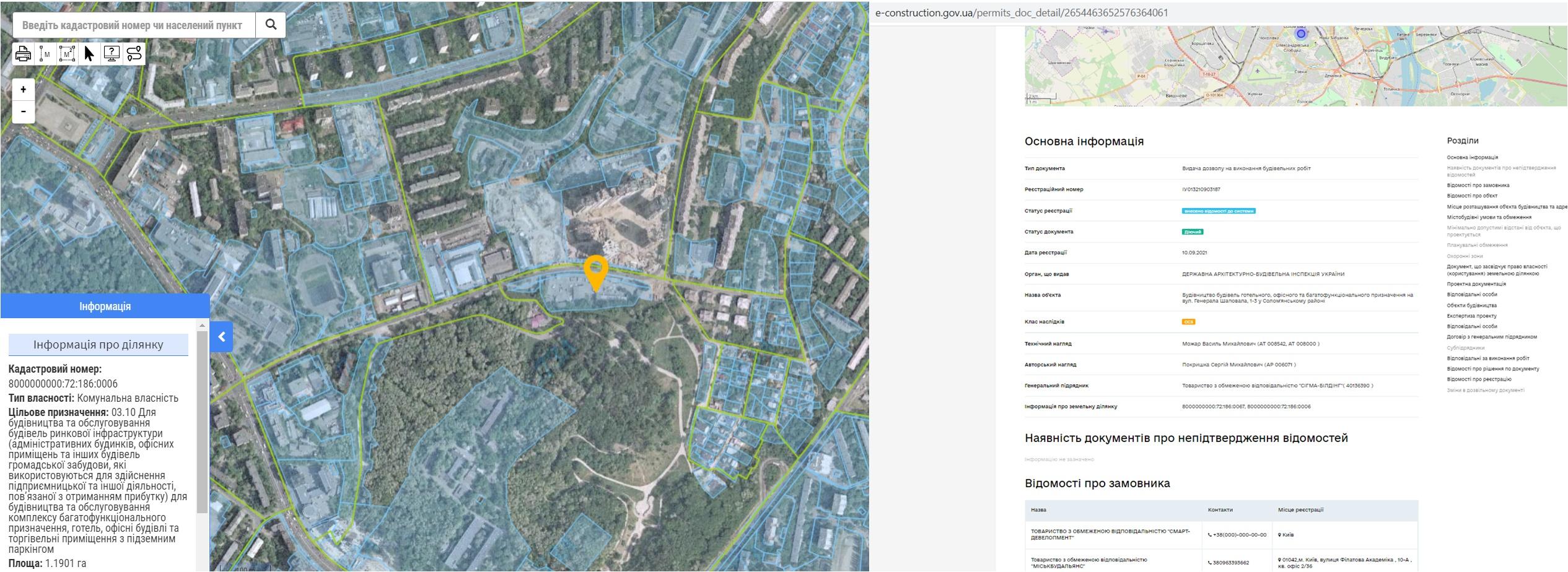 Проект МФК по ул. генерала Шаповала, 1-3 данные кадастра и Разрешение в реестре
