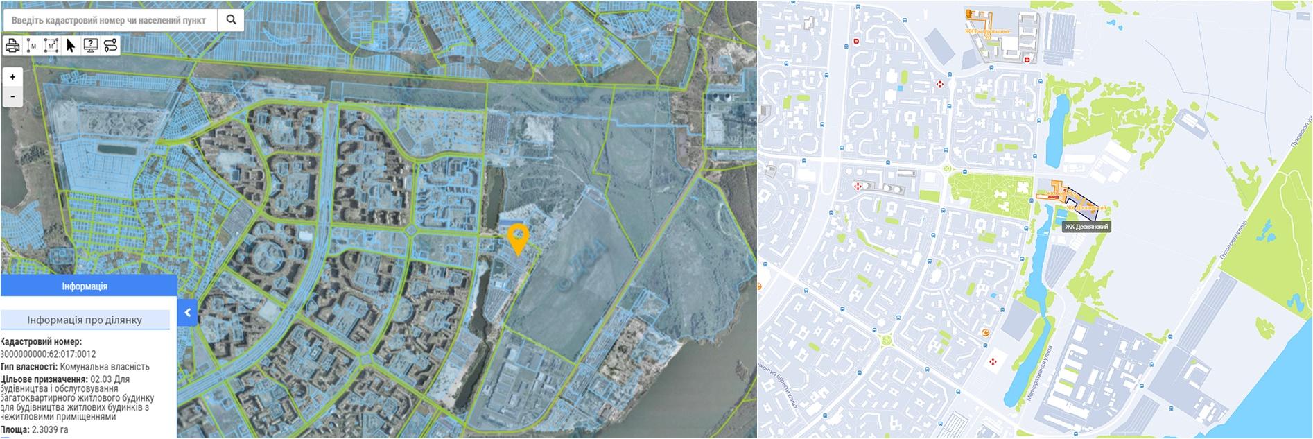 ЖК Деснянский данные кадастра и на карте