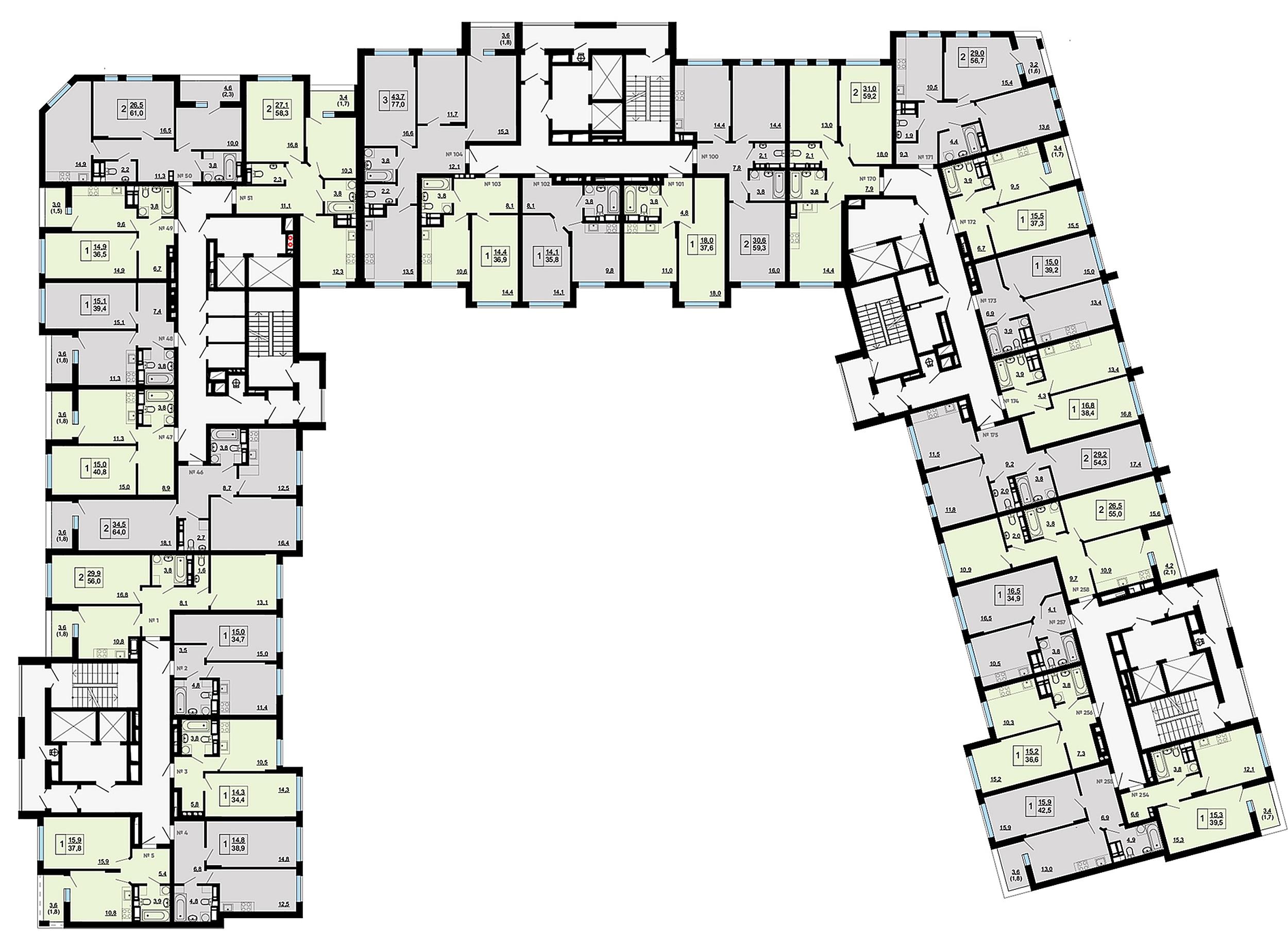 ЖК Paradise Avenue поэтажный план дома №8