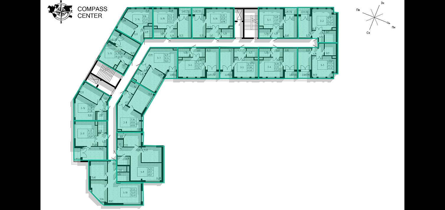 ЖК Compass Center поэтажный план жилой части
