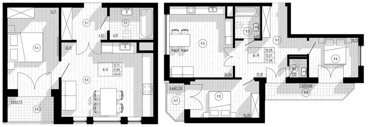 ЖК Компасс Центр варианты планировок апартаментов