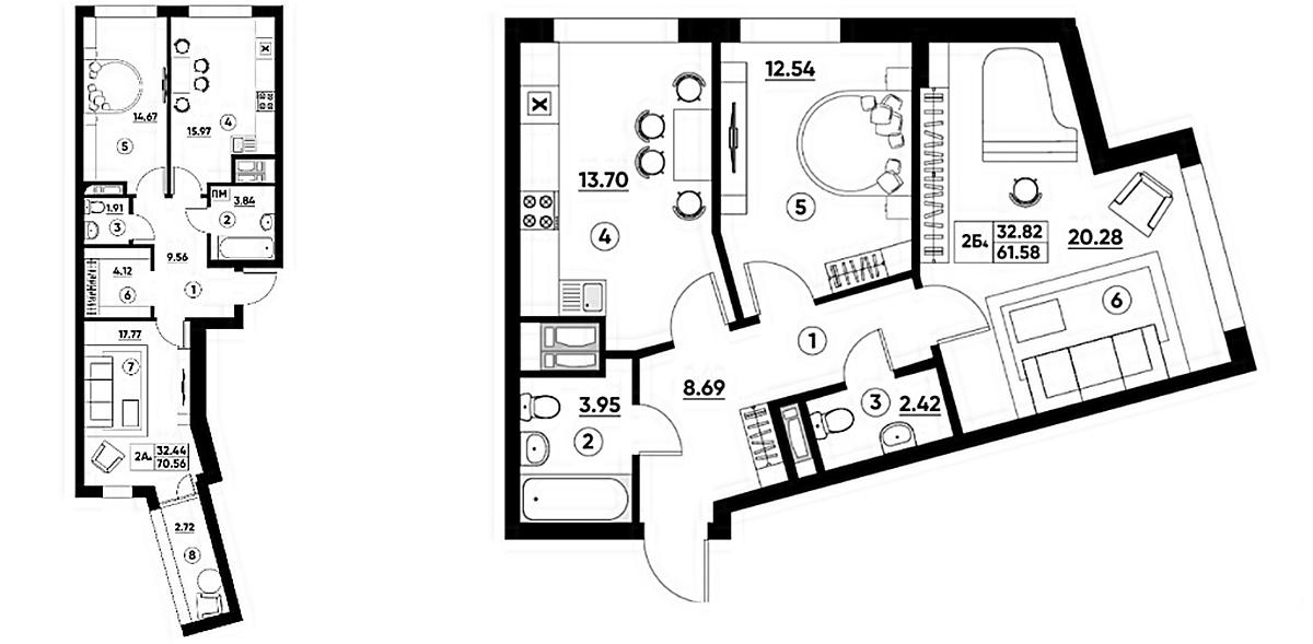 ЖК Парадиз Авеню планировки двухкомнатных квартир