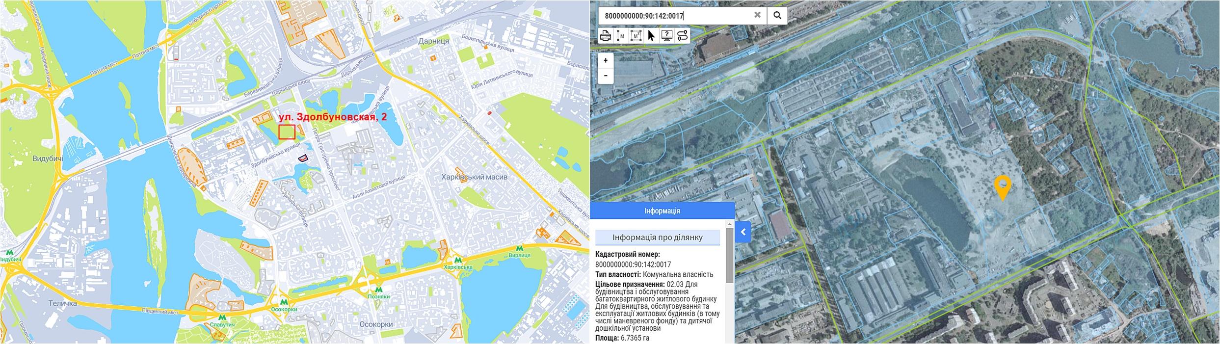 Будущий ЖК по ул. Здолбуновская, 2 данные кадастра и на карте