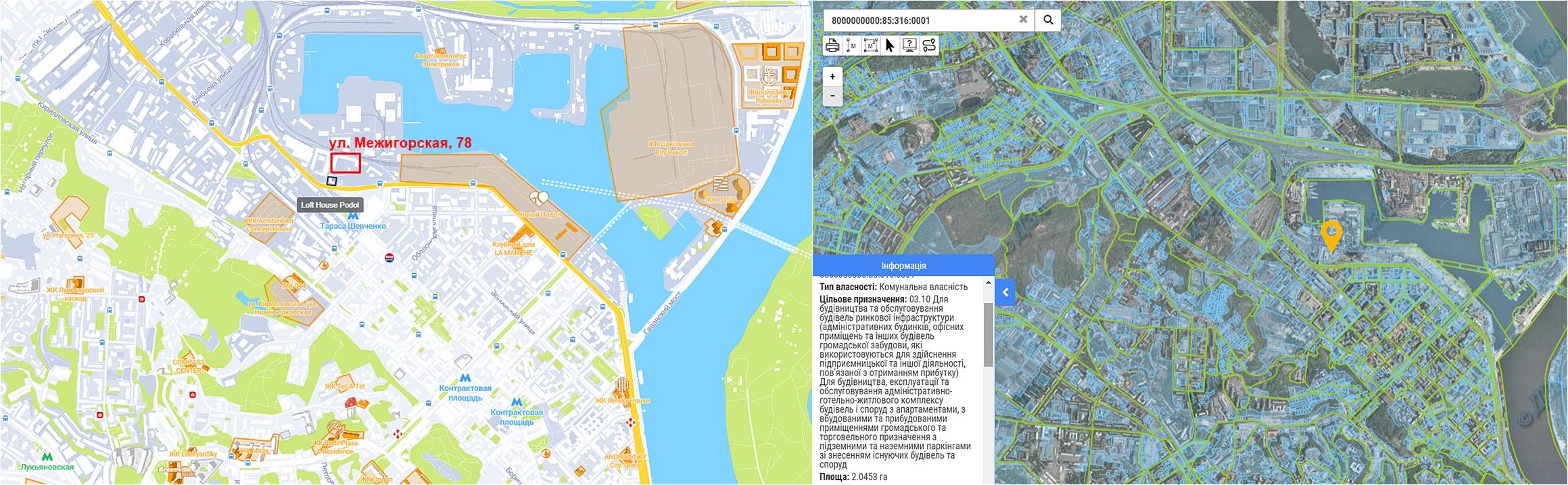 Проект реконструкции по ул. Межигорская, 78 данные кадастра и на карте