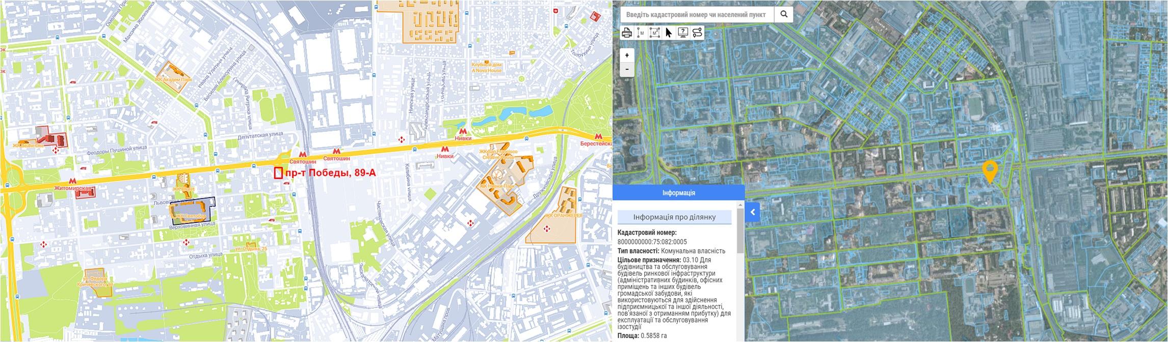 Проект реконструкции на проспекте Победы, 89-А данные кадастра и на карте